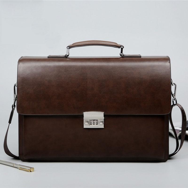 Business Man Bag Theftproof Lock PU Leather Briefcase For Man Solid Bank OL Mens Briefcase Bag Dress Man Handbag