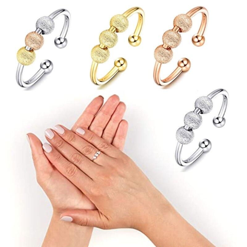 Спиннинг Непоседа кольцо с символом мира Спиннер разомкнутые кольца для беспокойства беспокоиться Поворотный кольцо снятия стресса ко Дню...