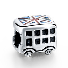 Strollgirl new 100%925 sterling silver England flag car charm DIY beads suitable for Pandora bracelet women fashion Jewelry gift