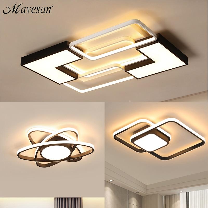 Chandelier For Living Room Bedroom Study Room Dimmable 110V 220V White+Black Ceiling Chandelier Crystal Lamp