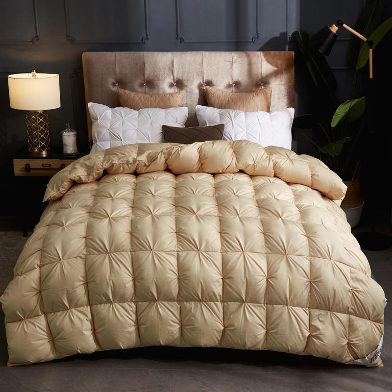 Edredón de lujo grueso de invierno edredones de algodón blanco pato 100% relleno de ganso reina tamaño King edredón 3D manta de pan colcha - 3