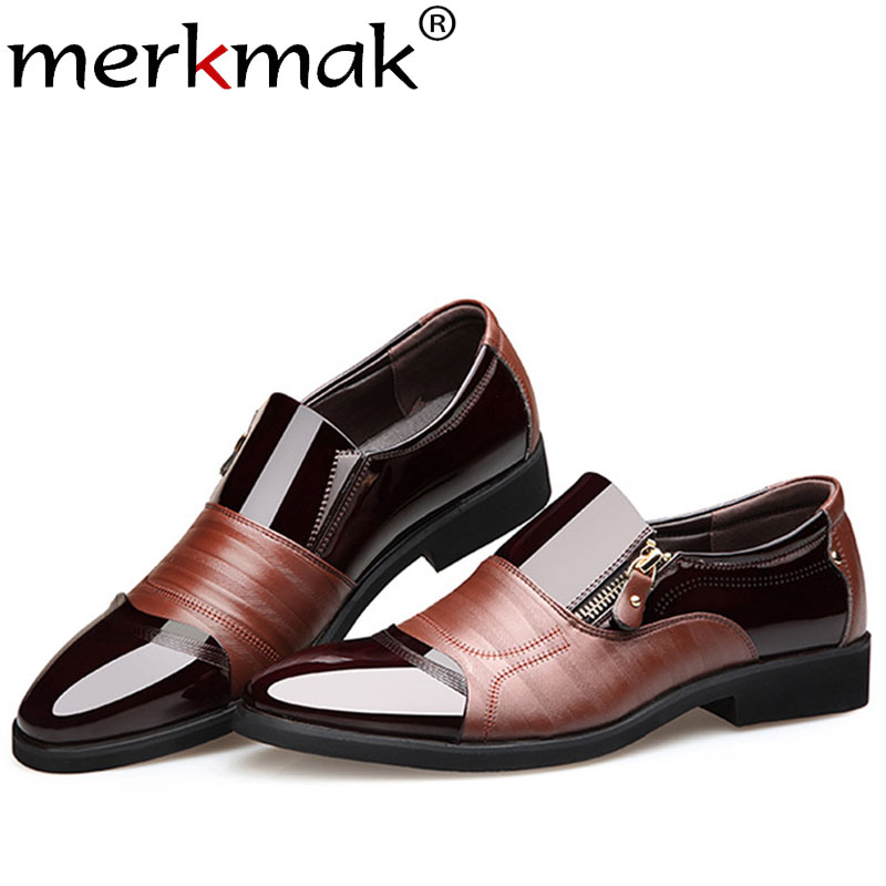Merkmak New Spring Fashion Oxford Business Men Shoes Genuine Leather Soft Casual Breathable Men's Flats Zip Lace-up Shoes