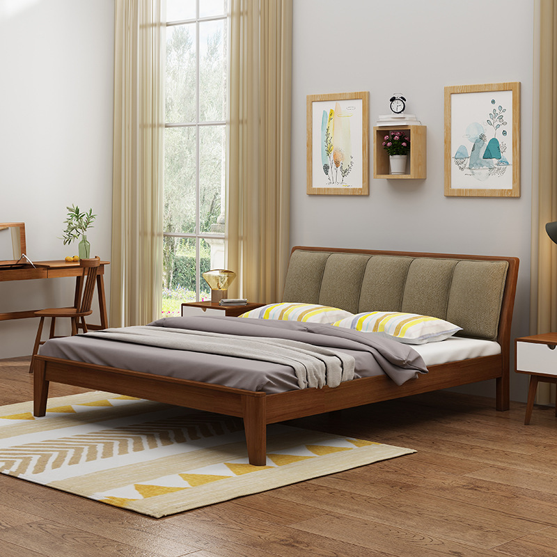 Northern European-Style Japanese Style Solid Wood Bed Master Bedroom 1.8 M 1.5M Economic Small Apartment Minimalist Modern Doubl