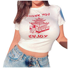 Rockmore Wit Chinese Karakter Print T Shirt Vrouwen Bodycon Casual Tshirt T-shirt Femme Streetwear Tops Tee Shirt Zomer(China)