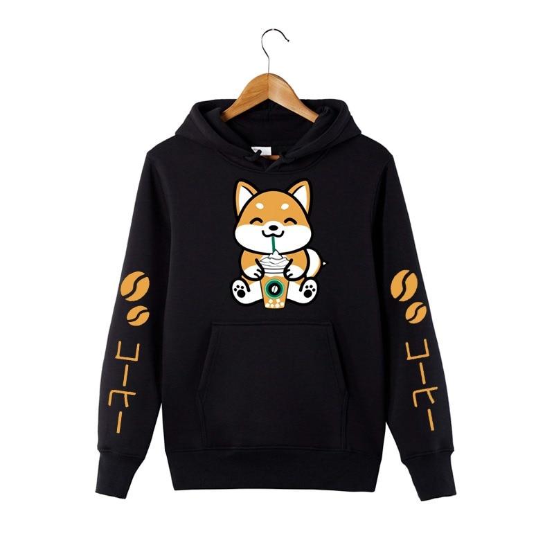 New Coffee Frappe Shiba Inu Hoodied Harajuku Sweatershirt Kawaii Hooded Outfit Cartoon Animal Pattern Long Sleeve Pullovers