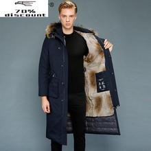 Real Fur Coat Men Parka Long Winter Goose Down Jacket Warm Rabbit Fur Liner Outerwear Men #8217 s Down Jackets 2800-2 KJ3209 cheap REGULAR Casual zipper Full Zippers Thick (Winter) Broadcloth Polyester White goose down Liner Detachable 150g-200g Solid