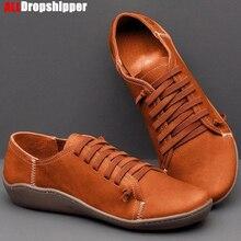 جديد السيدات حذاء كاجوال الكلاسيكية عالية الجودة أحذية نسائية عدم الانزلاق مقاومة للاهتراء حجم كبير 43 حذاء مسطح النساء أحذية من الجلد