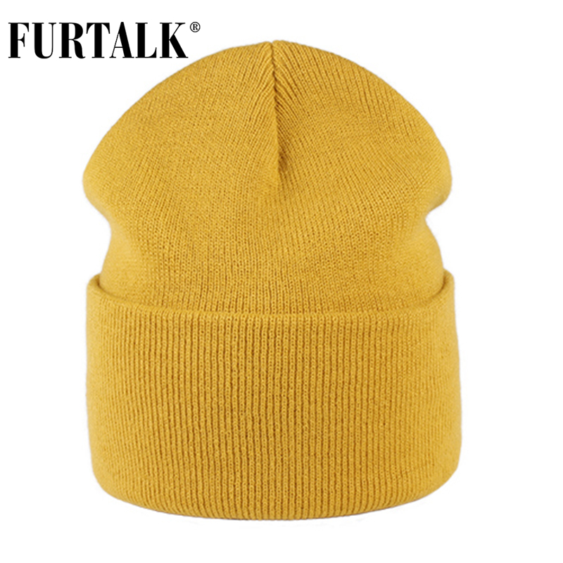 FURTALK Beanie Hat Women Autumn Winter Bonnet Cap Spring Knitted Beanie Skullies Cap For Female Pink Black Yellow Color