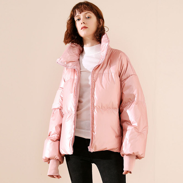 2019 Female Glossy Down Parka Winter Jacket Women Large Sizes Thick Down Jacket Loose White Duck Down Coat Waterproof Outerwear 6