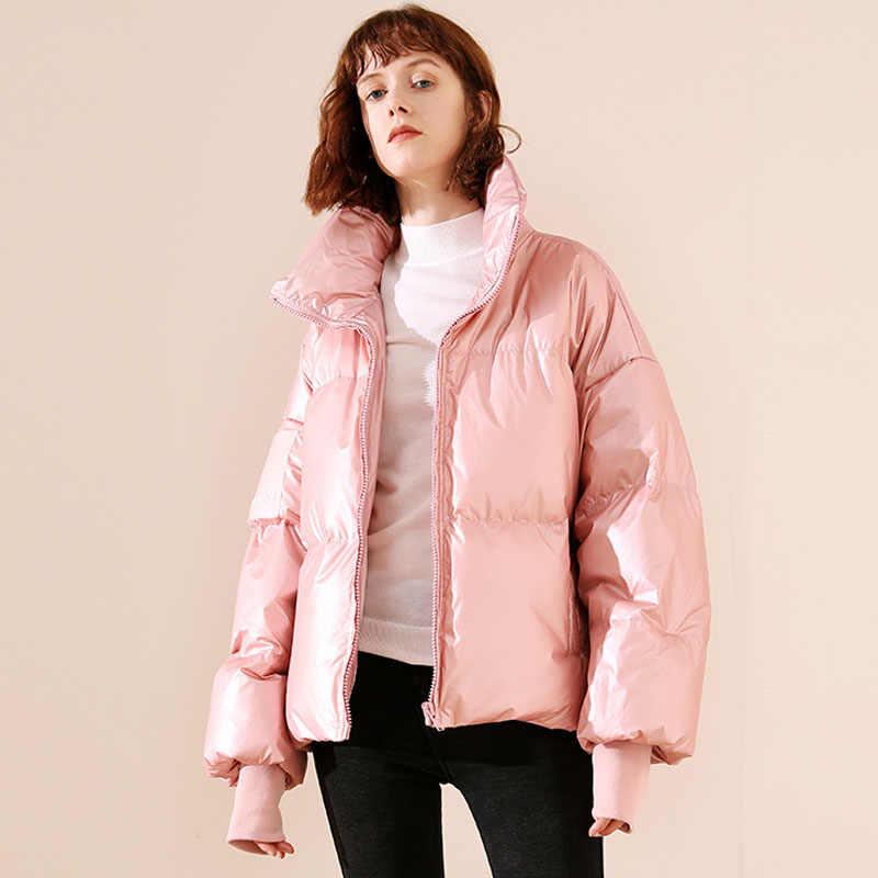 2019 女性の光沢のあるダウンパーカー冬のジャケットの女性大サイズ厚いダウンジャケット緩いホワイトダックダウンコート防水上着