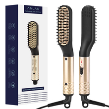 ANLAN Men Hair Straightener Brush Multifunctional Ceramic Beard Electric Comb For Permed