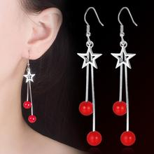 KOFSAC 2019 Hot Sale 925 Silver Earrings Lady Hollow Star Red Beads Tassel For Women Fashion Jewelry Party Accessories
