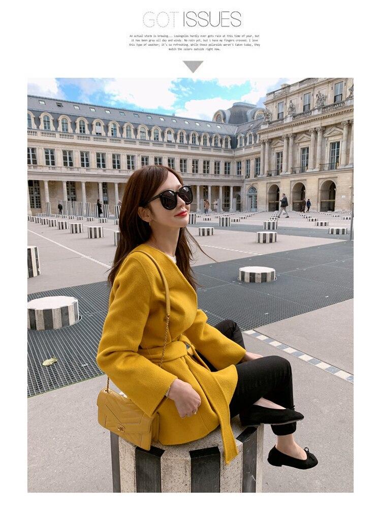 US $35.1 40% OFF|Wiosenny zimowy płaszcz damski w stylu koreańskim dekolt w szpic sznurowane wysokiej talii mieszanki płaszcze wełniane codzienna