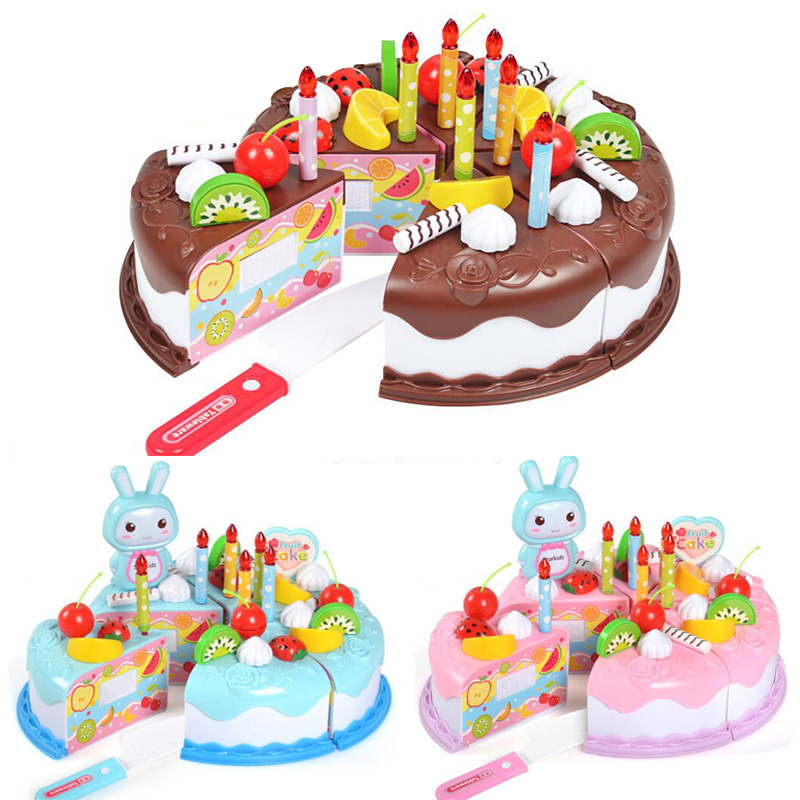 37pcs/set Pretend Play Toys Birthday Cake Cutting Toys For Girls DIY Kitchen Toy Fun Lovely Kindgarden Educational Gifts For Boy