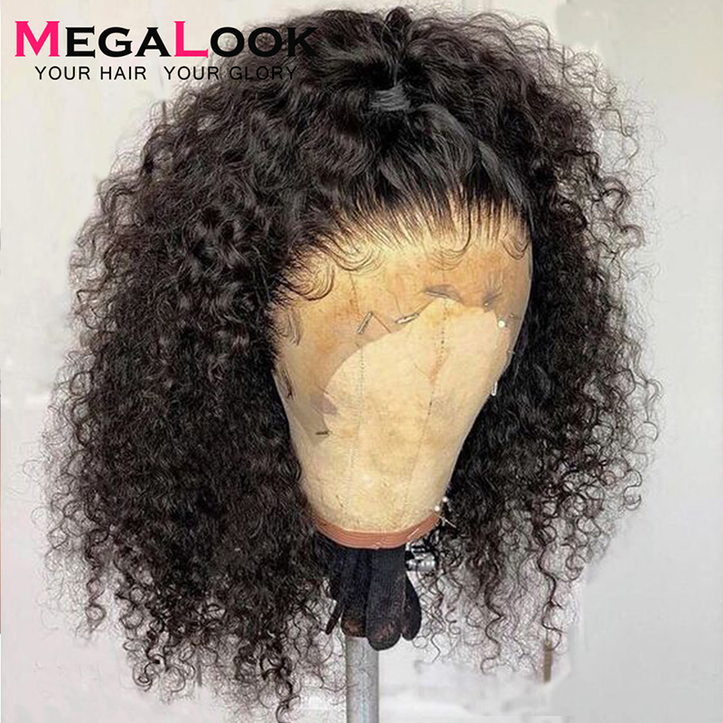 Curly Human Hair Wigs Pre Plucked With Baby Hair Remy Peruvian Wigs For Black Women 13x4 Glueless 180 Lace Front Human Hair Wig