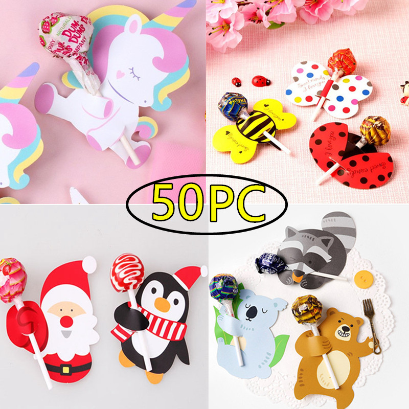 50Pcs Lollipop Holder Cards Paper Candy Lollipop Decoration Card Cartoon Halloween Christmas Birthday Candy Aceessories Supply LollipopDecoration Paper Gift Box Sugar Card Cute Message Card Kids Toys DIY Surprise