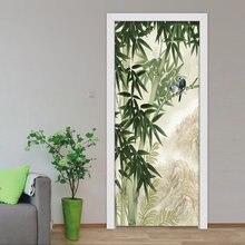 3d наклейка на дверь Настенные обои ручная роспись бамбуковый
