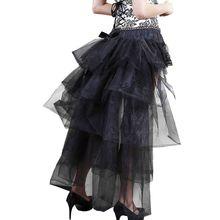 Women Mesh Long Tail Skirt Large Swing Sexy Lace Pettiskirt Dance Tutu Skirts PXPB