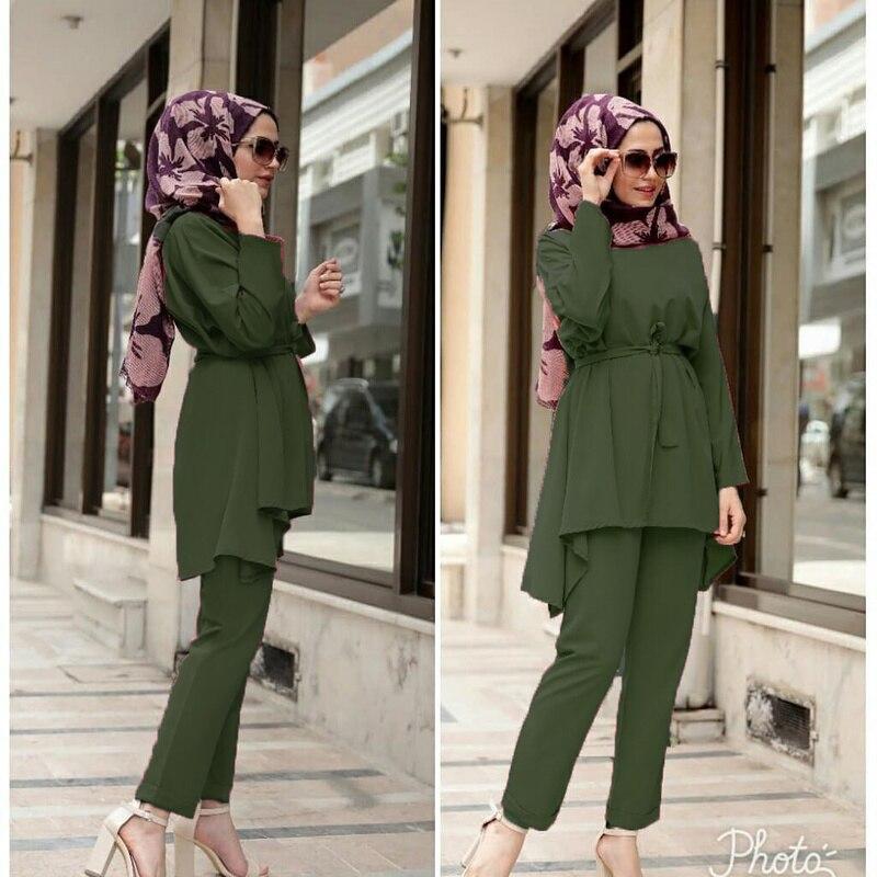Muslim 2 Piece Sets Women Abaya Dubai Lace-up Tops And Wide Leg Pants Kaftan UAE Pakistan Turkey African Prayer Islamic Clothing