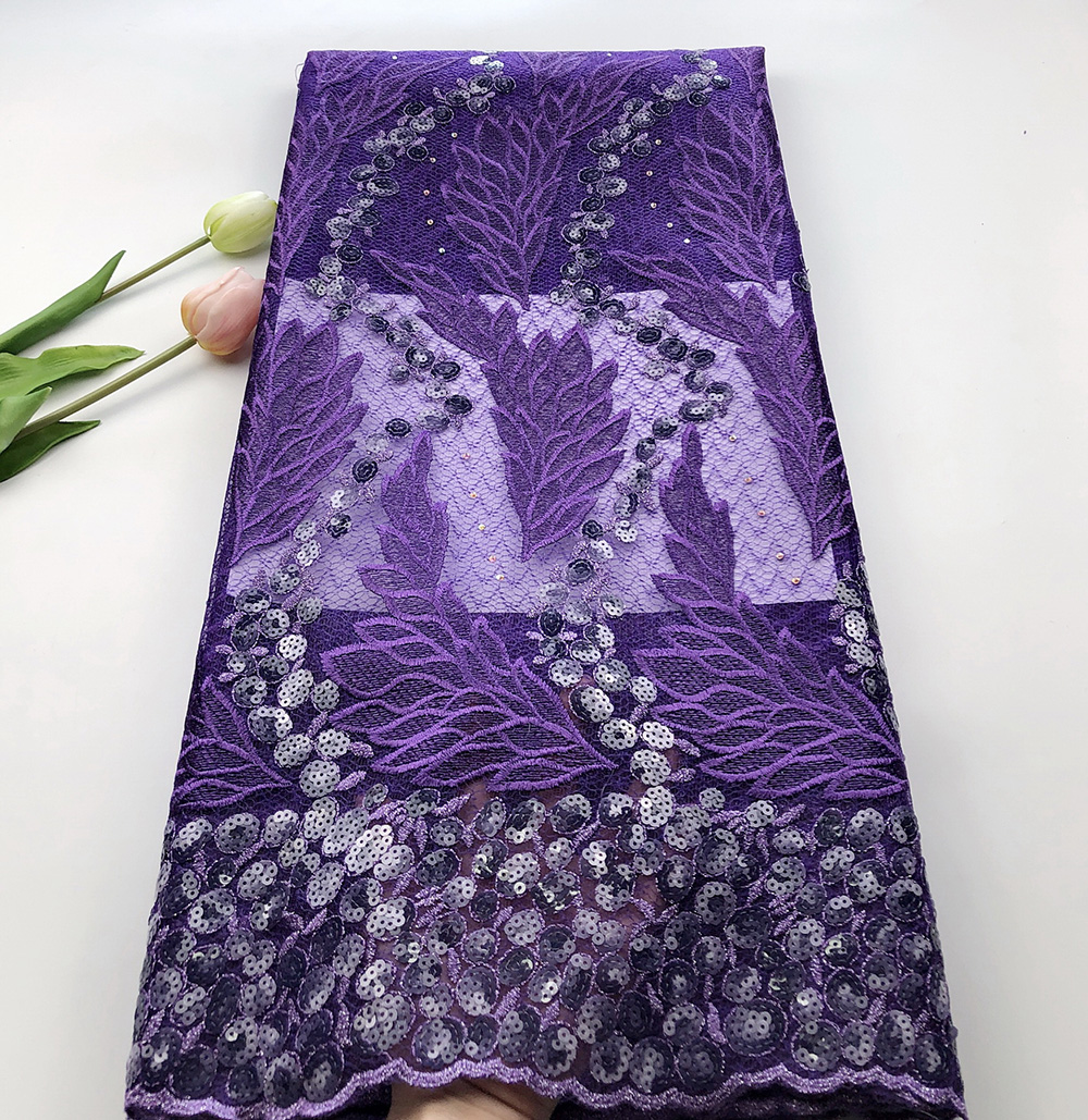 Latest African sequins lace fabric 2019 high quality Purple French Nigeria tulle lace fabric with sequins free shipping
