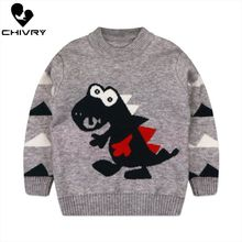New 2020 Kids Children Pullover Sweater Autumn Winter Boys Girls Cartoon Dinosaur O-neck Knitted Sweaters Tops Clothing