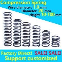 Mola de pressão de bobina, mola de mola de pressão personalizada rotor de aço retorno fio de mola diâmetro 1.0mm de diâmetro 20mm ponto bom