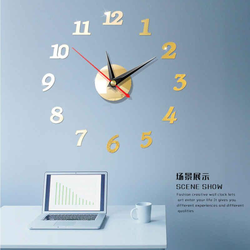 Reloj de pared grande moderno de EE. UU. Pegatina de espejo 3D reloj único gran número decoración DIY