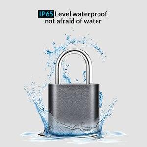 Image 4 - Smart Fingerprint Bluetooth Rechargeable Keyless Padlock Unlock Waterproof Home Security APP Shared Door Lock for IOS Android