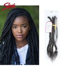 Sleek DreadLock Mongoolse Haarverlenging Gehaakte Vlechten 12-20 Inches 20 strengen/lot 100% Remy Human Brading Haar bundels(China)