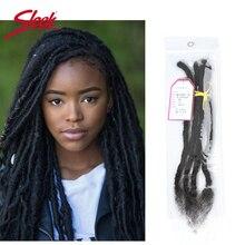 Sleek DreadLock extensiones de cabello mongol, trenzas de ganchillo de 12 20 pulgadas, 20 hebras/lote 100% mechones de cabello humano Remy