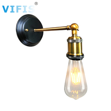 Retro LED Wall Light Fixtures IndustrRotated 180° Wall Lamp Vintage  For Living Room Home Indoor Sconces Lighting E27