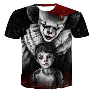 Summer new 3DT shirt men's street casual print black short sleeve fashion funny white T-shirt high T-shirt Colorful T-shirt