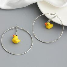 New Arrival Adorkable Cute Yellow Duck Strawberry Cherry Earrings Fashion Girls Geometric Mushroom Big Hoops Earrings Jewelry