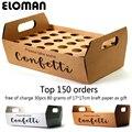 confetti cone holder ELOMAN natural confetti cone stand box tray for wedding decoration custom confetti cones-White-Kraft