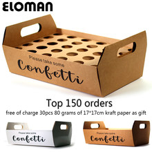 confetti cone holder ELOMAN natural confetti cone stand box tray for wedding decoration custom confetti cones-White-Kraft