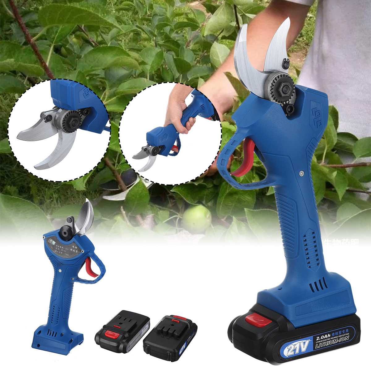 21V Electric Pruning Scissors 30mm Pruning Shears With 2 Lithium Battery Garden Pruner Branch Cutter