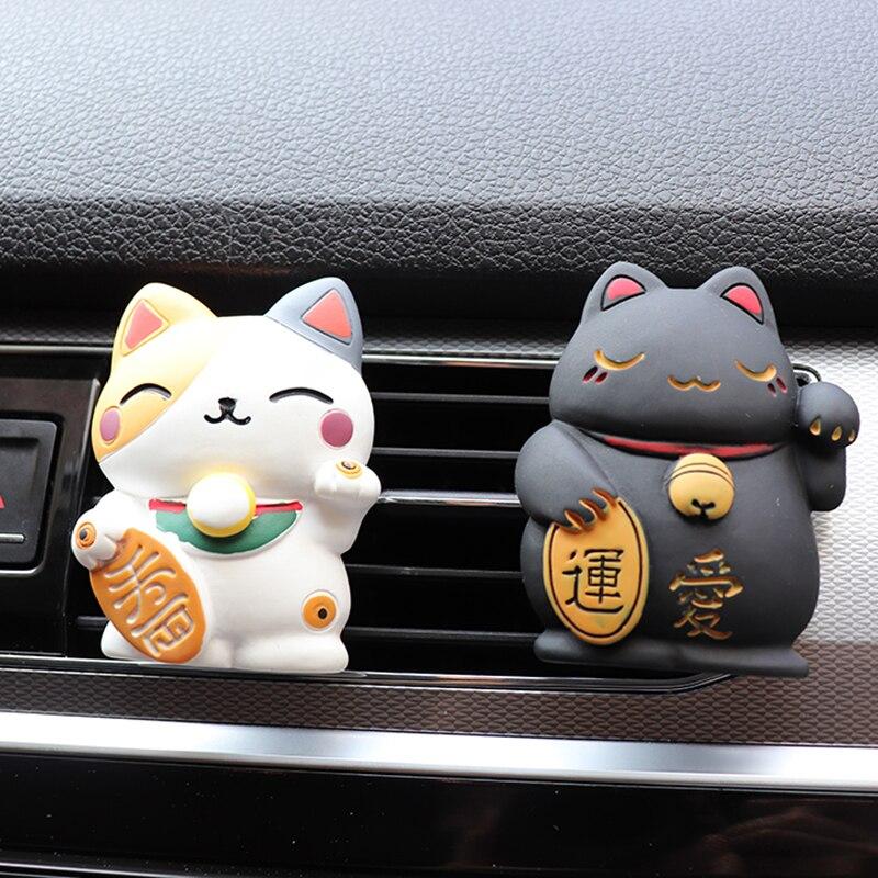 Sorte gato carro aromaterapia ambientador no carro perfume saída de escape clipe bonito acessórios decoração do carro interior