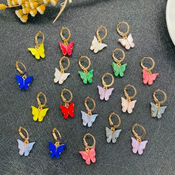 Śliczne Glitter Butterfly kolczyki dla kobiet Street Style spadek kolczyki koreański moda dynda kolczyki biżuteria prezenty Oorbellen tanie i dobre opinie OEING Stop ołowiu i cyny CN (pochodzenie) Śliczne Romantyczne kolczyki wiszące Zwierząt Akrylowe Kobiety dangle Earrings for Women