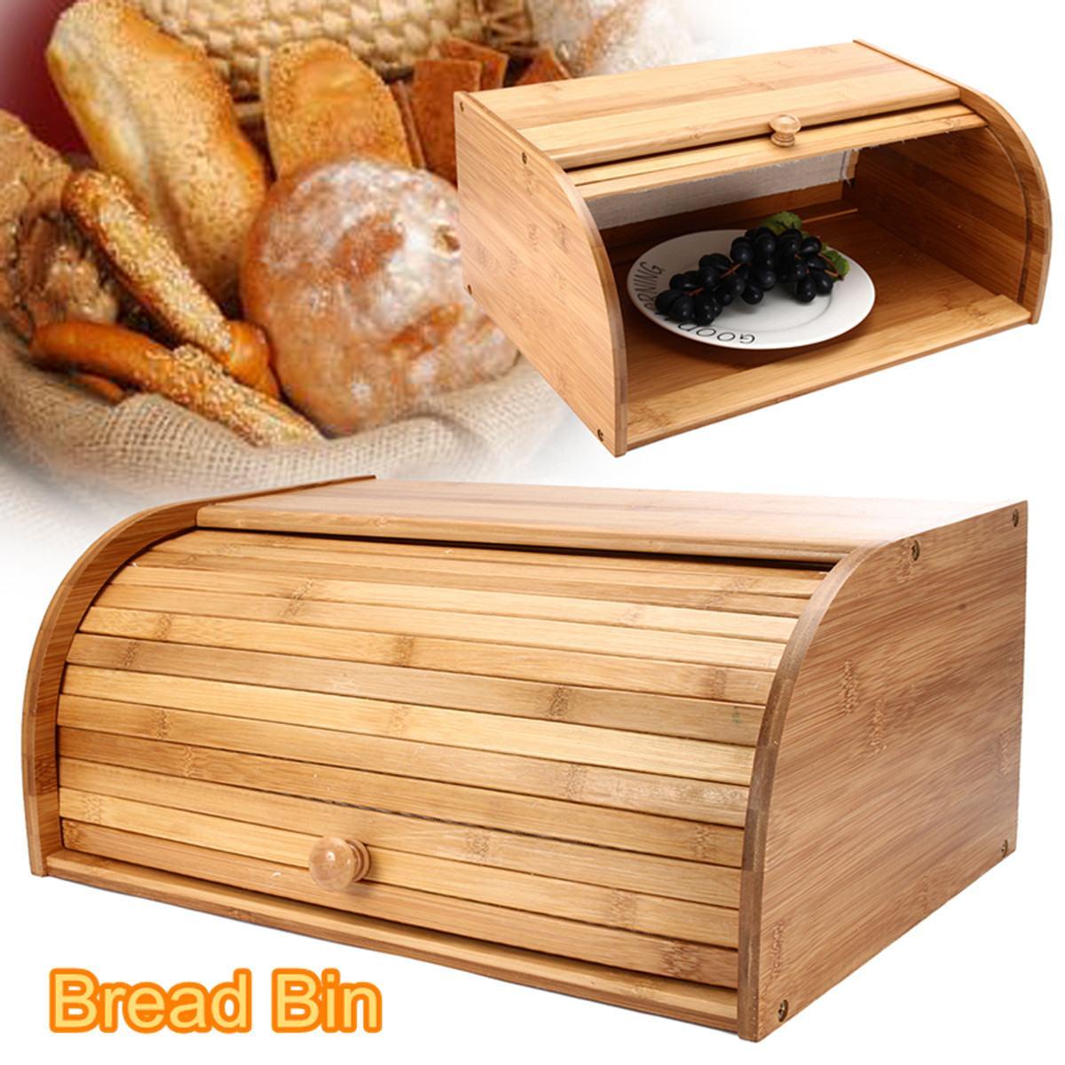 Bamboo Roll Top Wooden Loaf Bread Bin Kitchen Food Storage Box Container Organizer Household Organizer Snack Box 40X27X17cm