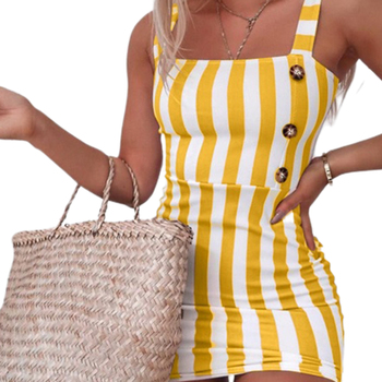 Fashion Women's Sling Mini Dress Wrapped Sleeveless Stripe Printed Buttons Summer Bodycon Slim Girl Clothes 1