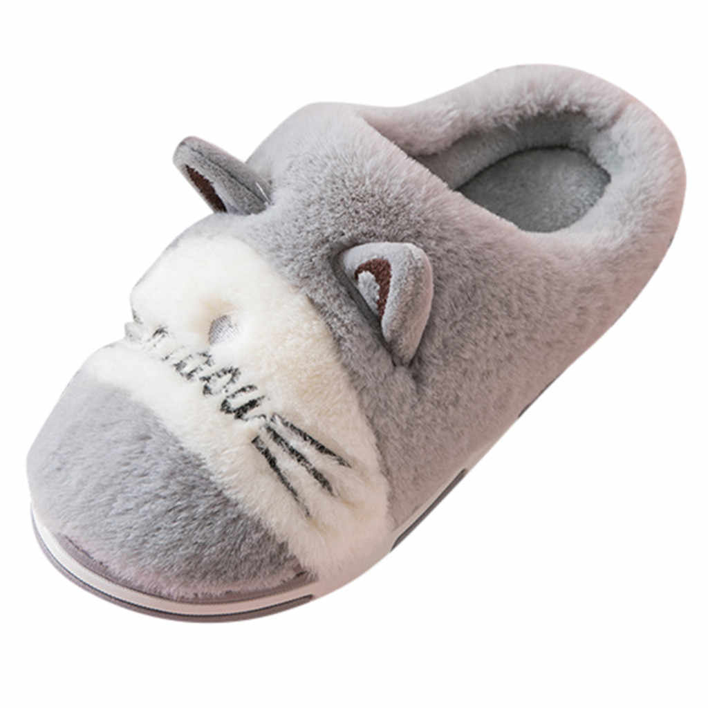 SAGACE hot Slippers Mens Cartoon Cat Warm Non-slip Floor Home warm slippers men Slippers Indoor comfortable Shoes Bedroom 2019