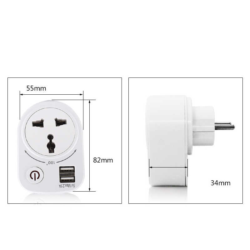 Elektryczny podwójna ładowarka USB Adapter 5V 2.1A ue wtyczka inteligentnej wtyczki gniazdo ścienne moc ładowania przełącznik uniwersalny Outlet