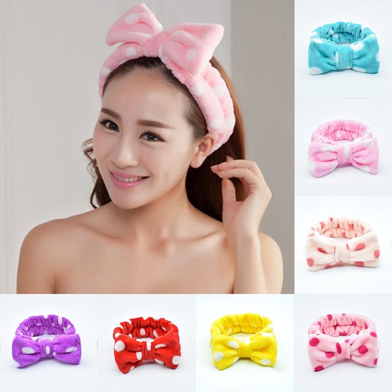 Polka Dot Coral Velvet Headbands Hair Ties Makeup Hair Ring Big Bow Beauty Shower Hairband Women Elastic Hair Bands 1Pcs