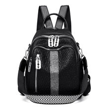 Black Small Women's Leather Backpack Female Fashion Rivet High Quality Diamond Soft Pu Back Pack Women Trend 2020(China)