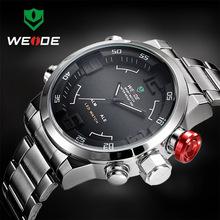 Moda WEIDE Sport zegarek mężczyźni cyfrowy kwarcowy LED stalowy pasek człowiek podwójny czas zegarek 3ATM wodoodporne zegarki na rękę w stylu wojskowym Relogios tanie tanio 27cm Moda casual Podwójny Wyświetlacz 3Bar Składane zapięcie z bezpieczeństwem CN (pochodzenie) Ze stopu 17mm Hardlex