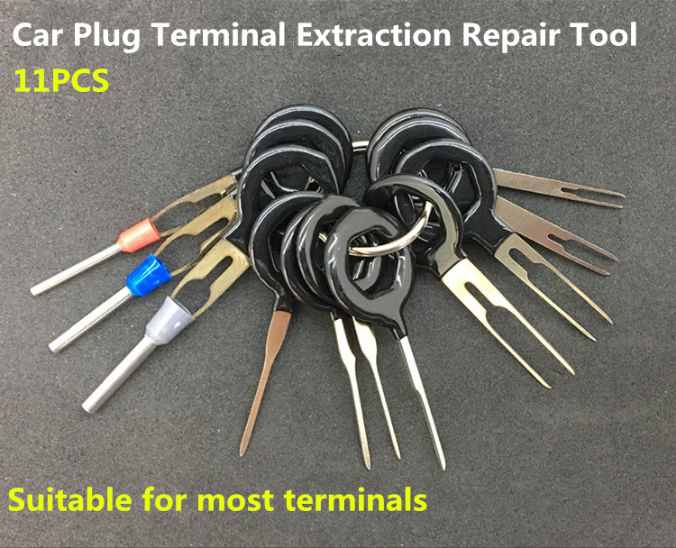 11 pcs <font><b>Auto</b></font> Car Plug Circuit Board Wire Harness Terminal Extraction Pick Connector Crimp Pin Back Needle Remove <font><b>Tool</b></font> Set image