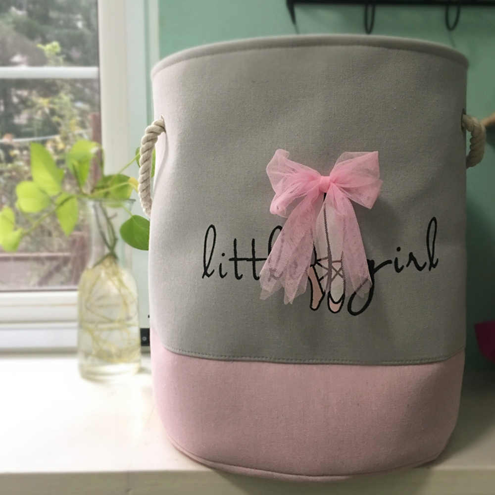 سلة الغسيل القابلة للطي للملابس القذرة الوردي الباليه فتاة اللعب سلال مقسم حقيبة تخزين الاطفال المنزل غسل منظمة