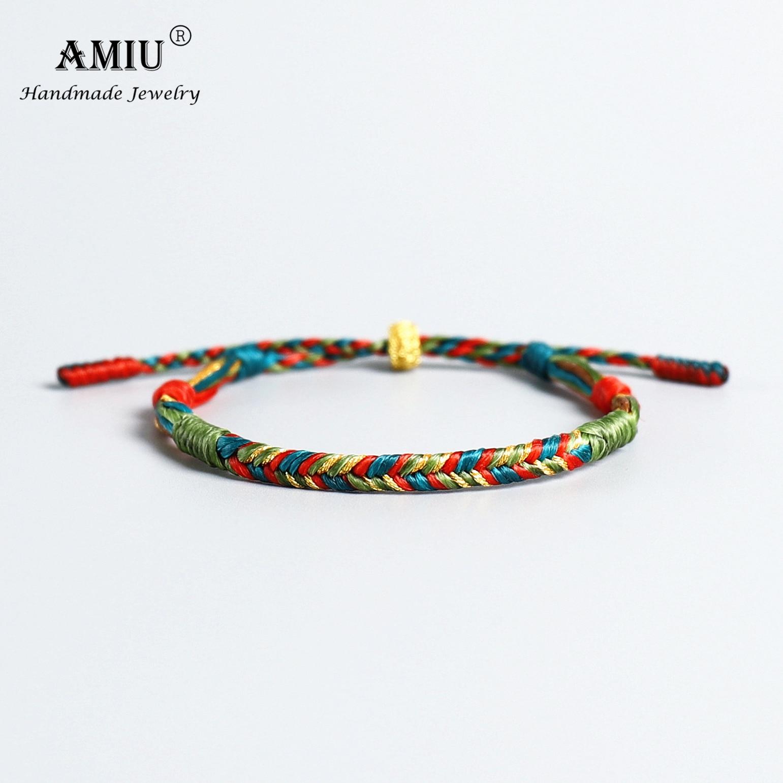 AMIU ручной работы браслет с тибетской символикой водостойкий воск нить счастливая веревка браслет и браслеты для женщин мужчин воск нить Ма...
