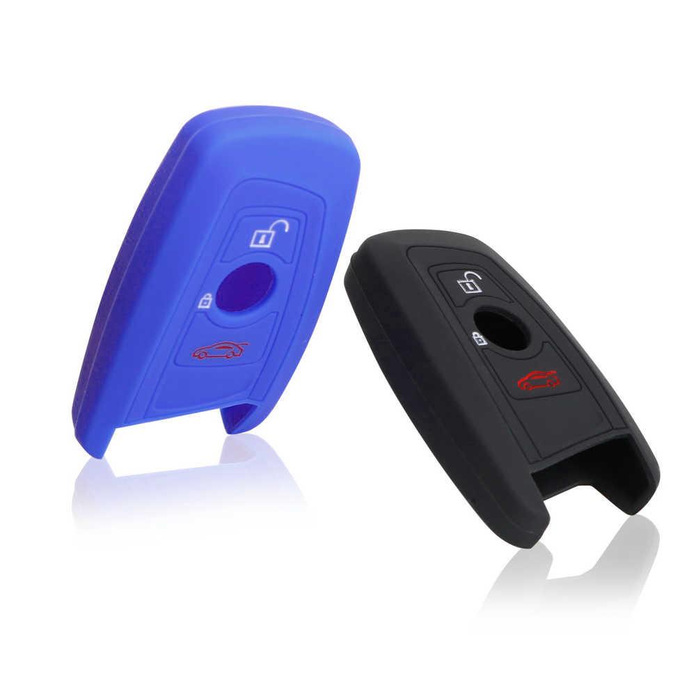 3 przycisk obudowa kluczyka do samochodu dla BMW 1 3 5 7 serii F30 F31 F34 F10 F11 F07 X1 X3 X4 X5 X6 futerał na klucze samochodów silikonowy gumowy klucz silikonowe