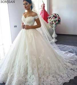Wedding-Gowns Mariage Train Bridal Custom-Made Shoulder White Plus-Size The Off Tulle